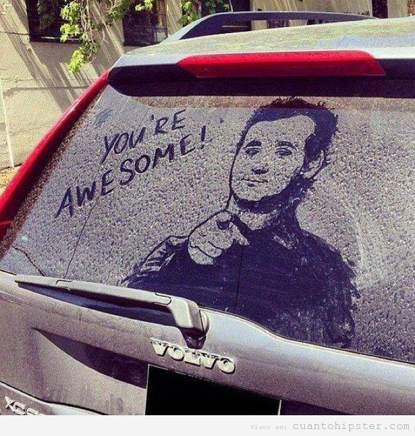 foto-graciosa-bill-murray-dibujado-coche-sucio